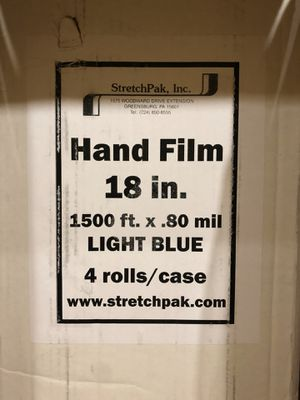Brand New Blue Color Handling Stretch Wrap Film 18 Inch X 1500 feet x 80 Gauge 4 Rolls Now for Only $70!! for Sale in Los Angeles, CA