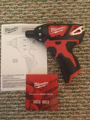 """Milwaukee. M12 Lithium Ion 1/4""""HEX Cordless Screwdriver (Tool Only). 2401-20. for Sale in Brooklyn, NY"""