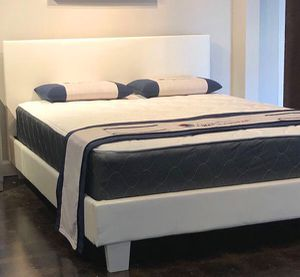 Full size white platform bed with mattress and free delivery $279 for Sale in Austin, TX