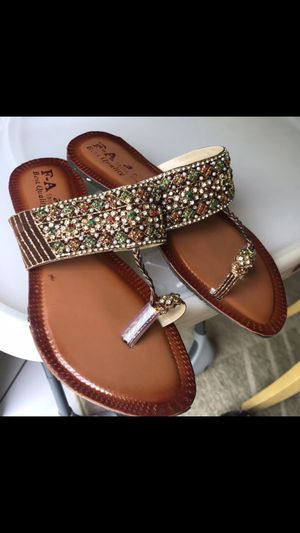 Beads handmade Asian sandals shoes size 8 would fit feet up to size 8.5 for Sale in Spencerville, MD