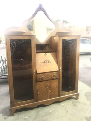 Antique Tiger Wood Secretary With Cabinet for Sale in Fullerton, CA