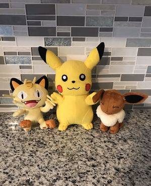 Pokémon Pikachu, Meowth, Eevee Plush Lot for Sale in Coventry, RI