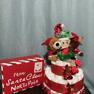 Christmas Diaper Cake With Gift Box for Sale in Bailey's Crossroads, VA