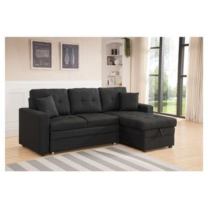 Tufted Pull Out Sectional Sofa Bed In Black Linen Fabric for Sale in Monterey Park, CA
