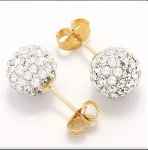 Solid 14k Yellow Gold, Swarovski Crystal 8mm Ball Stud Earrings for Sale in Mill Creek, WA