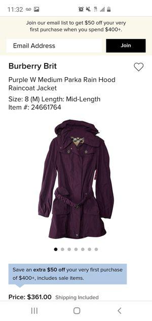 Burberry Brit Parka Rain Hood Rain Coat Jacket for Sale in Lynnwood, WA