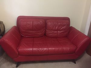 Red leather sofa (Futon) for Sale in Garner, NC
