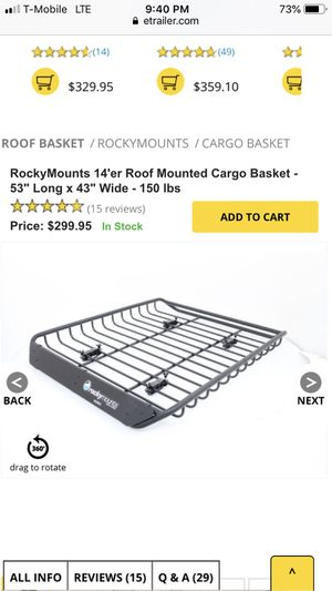 Rockymounts roof basket for Sale in Santa Fe Springs, CA