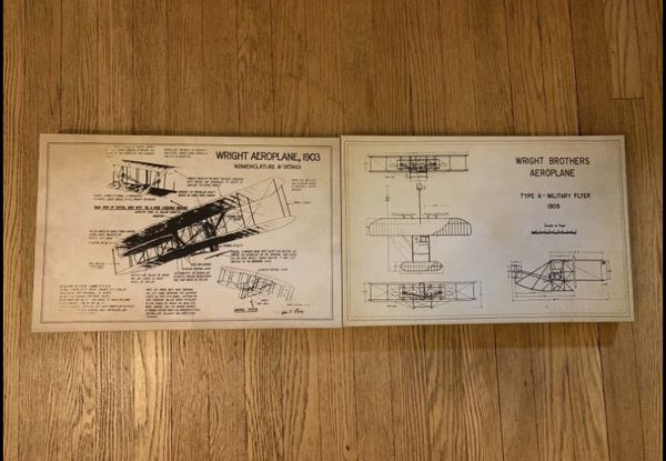 Vintage Wright Brothers Patent Framed Canvas Print