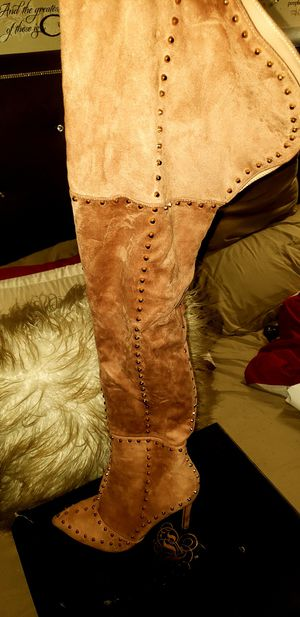 Mauve studded thigh high boot (size 10) and Jacket for Sale in Pennsauken Township, NJ