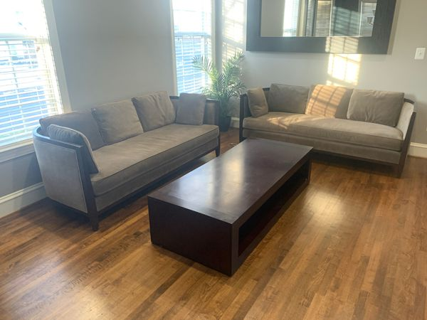 Formal Living Room with 2 Large Bernhardt sofas and modern, all solid wood coffee table