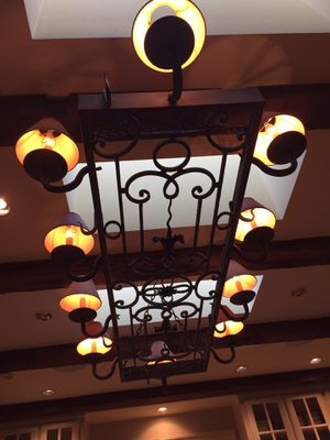 Light fixture custom made with pot rack hooks. for Sale in Dallas, TX