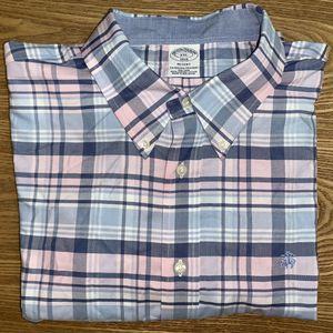 Brooks Brothers Men's Plaid Button Down Dress Shirt XXL Pink/Blue for Sale in Grand Rapids, MI