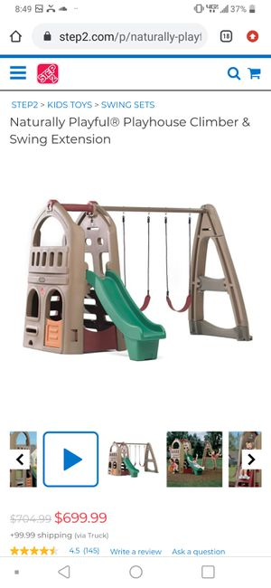 Step2 Naturally Playful® Playhouse Climber & Swing Extension; plastic swing set with slide for Sale in Mesa, AZ