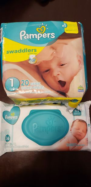 Pampers diaper and pack of wipes for Sale in Las Vegas, NV