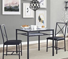 3pc Metal and Glass Dinette Set Black - Brand New for Sale in Dallas,  TX
