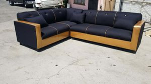 NEW 7X9FT DOMINO BLACK FABRIC COMBO SECTIONAL COUCHES for Sale in City of Industry, CA