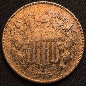 1865 Two 2 Cent Penny Piece for Sale in Geneva, IL