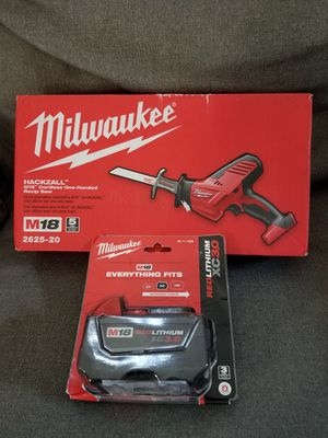 Milwaukee hackzall and battery New M18 for Sale in Falls Church, VA