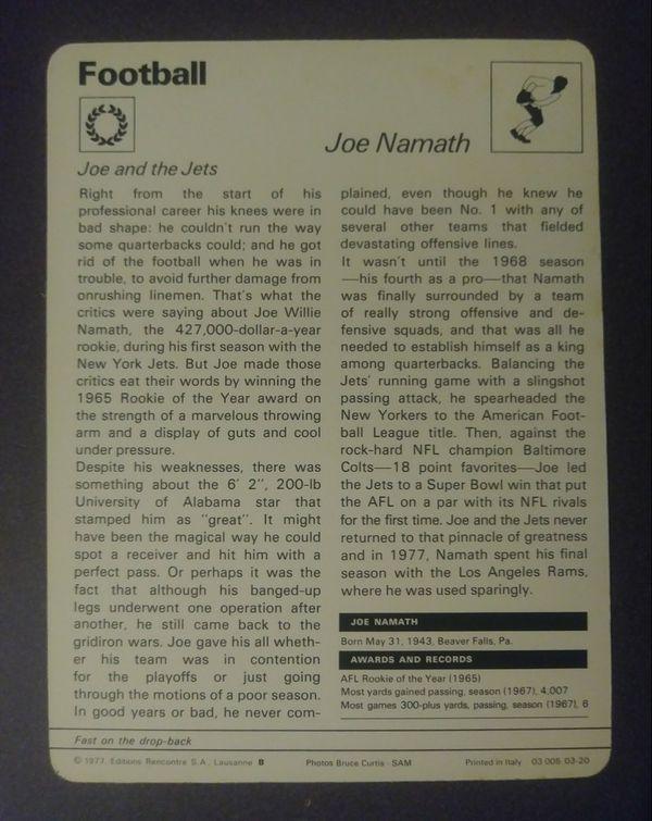 1977 Sportscaster Joe Namath New York Jets Quarterback Sport Photo Large Oversized Football Card HTF Collectible Vintage Italy NFL