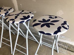 Set of 4 blue and white deck stools for Sale in Fairfax, VA