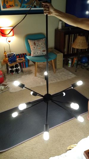 Sputnik Atomic Mid-Century Chandelier Light-Black with LEDs-10 Arm for Sale in San Diego, CA