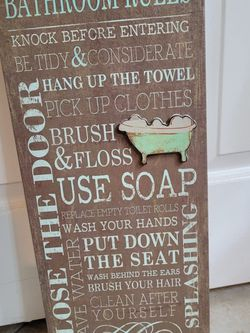 Bathroom Rules Canvas Excellent Condition for Sale in Scottsdale,  AZ