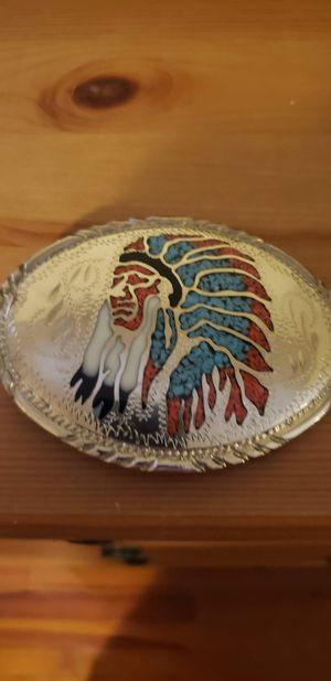 Silver and turquoise western-style belt buckle for Sale in Boyce, VA