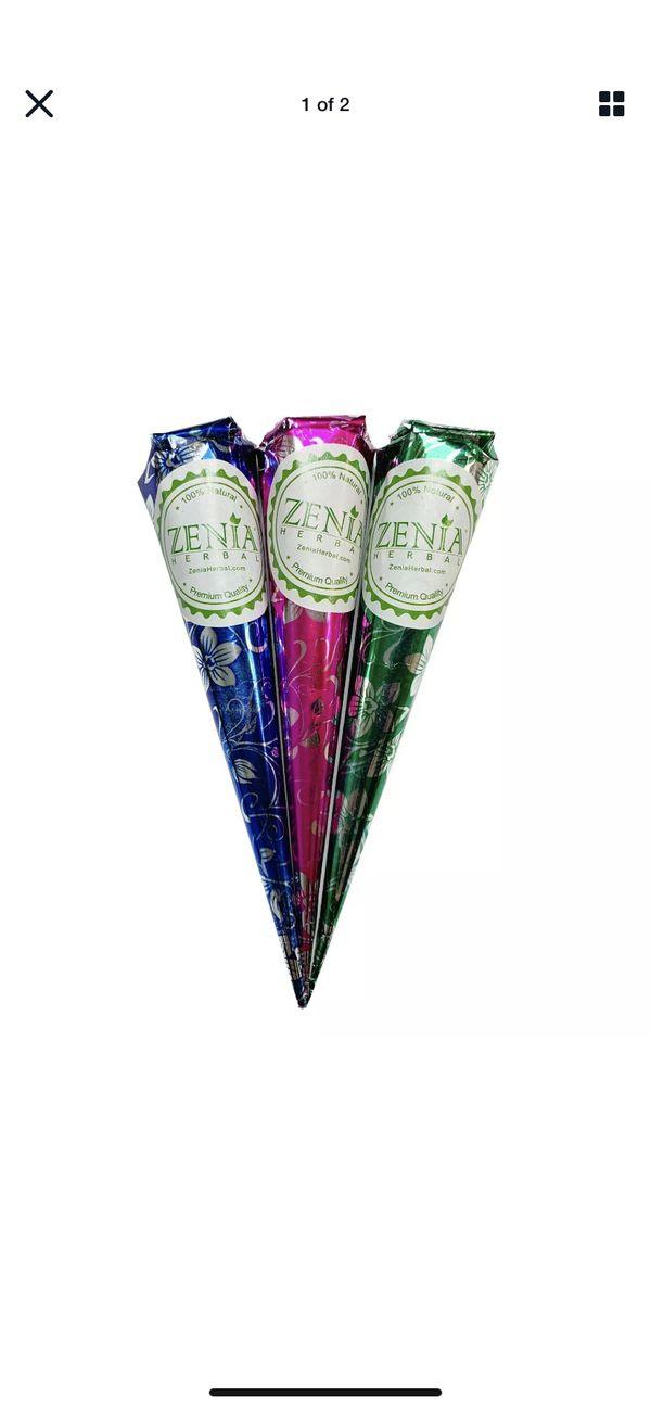 Henna cones $20 for 3 pack set w/ optional lemon sealant
