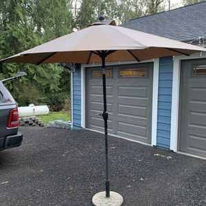 Patio Umbrella, Tiltable With Base for Sale in Port Orchard, WA