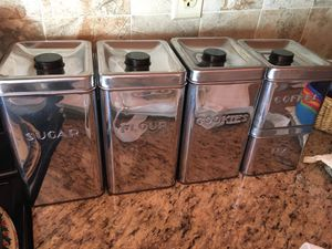 Kreamer 5 Piece 50's Art Deco Canister Set. $45. Pickup only. Voorhees NJ. for Sale in Gibbsboro, NJ
