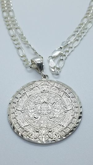 925 sterling silver Aztec calendar with 24inch chain for Sale in Glendale, AZ