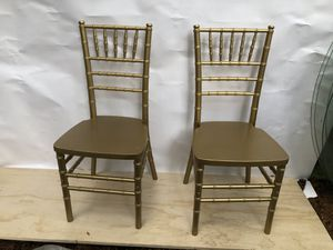 Gold wooden chairs 3ft tall X 16 X 16 price is for both for Sale in Portland, OR
