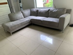 SUEDE SOFA LIGHT GRAY GENTLY USED for Sale in Miami, FL