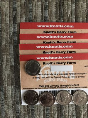 🎢🍿🥤🥨KNOTTS BERRY FARM TICKETS (4) 🎟🎟🎟🎟 $50 EACH THERE $84 .00 AT THE GATE AND EXPIRE 5/14/2020 🎢🍿🥤🥨 PEANUTS 🥜 CELEBRATION 🎉🥳 for Sale in Lynwood, CA