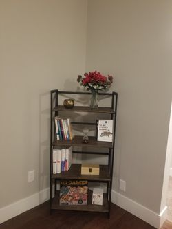 4 Tier Shelf Folding Bookshelf Home Office Foldable Bookcase Storage Shelves Vintage 4 Tiers Rustic Metal Book Rack Organizer Very Light Like New for Sale in Maple Valley,  WA