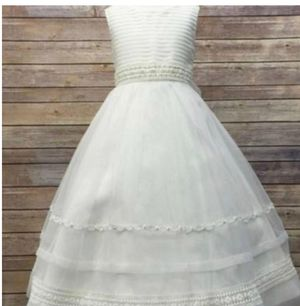 Flower Girl Dress Ivory Striped Organza and Beaded Lace Trim Dress White Party Dress Special Occasion Dress for Sale in Salt Lake City, UT