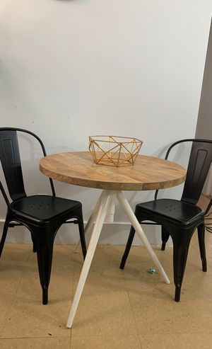 West Elm bistro table with 4 black mid century modern chairs for Sale in The Bronx, NY