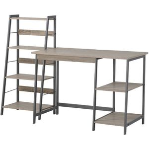 Homestar 2-Piece Laptop Desk and 4-Shelf Bookcase Set, Reclaimed Wood for Sale in Wildomar, CA