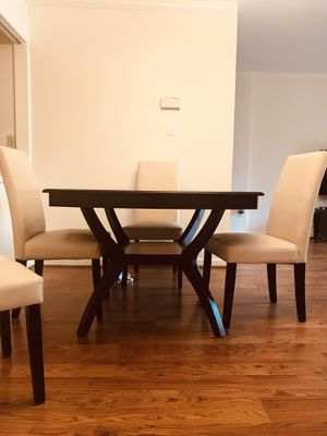 Dining table - Oak wood + 4 white leather chairs for Sale in Falls Church, VA