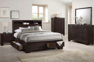 Brand new dark merlot queen storage bed frame + dresser + mirror + nightstand for Sale in San Diego, CA