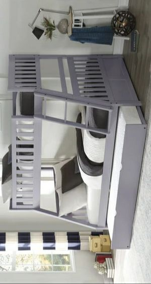 419/Orion Gray Twin/Full Bunk Bed SAME DAY DELIVERY for Sale in Houston, TX
