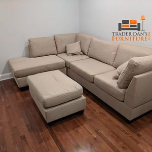 Brand New Tan Linen Sectional Sofa Couch + Ottoman for Sale in Silver Spring, MD