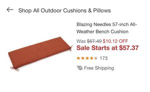 Blazing Needles swing/bench cushion for Sale in Charlotte, NC