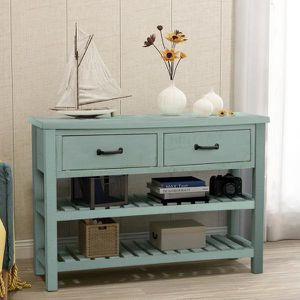 Blue Antique Console Table with Drawers and 2 Tiers Shelves for Sale in La Puente, CA