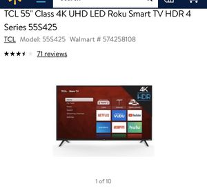 ( I NEED THE WALL MOUNT) RoKu TV TCL 55 Inch ( Cash In Hand) for Sale in Long Beach, CA