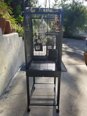 Exotic Bird Cage and Wooden Perch for Sale for Sale in Los Angeles, CA