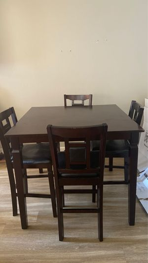 Wooden tall kitchen table + matching chairs for Sale in San Diego, CA