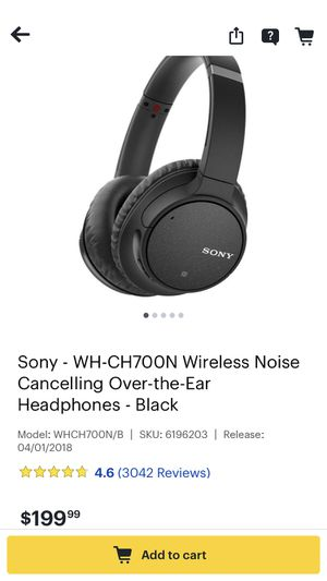 Sony - WH - CH700N Wireless Noise Cancelling Headphones for Sale in Weymouth, MA