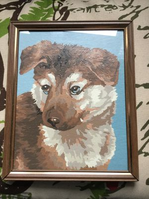 """Vintage Paint by Number Framed PUPPY DOG 8x10"""" for Sale in New York, NY"""